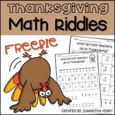 thanksgiving math riddles freebie by henry tpt