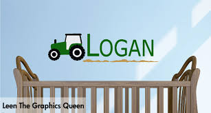 Name On Bedroom Wall Tractor Wall Decal With Childs Name Customized Wall Decal