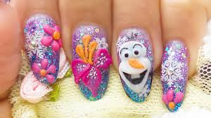 how to do frozen olaf disney winter 3d acrylic gel nails with