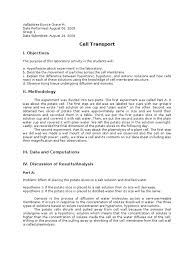 lab report cell transport osmosis life sciences