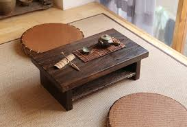 Wooden Living Room Table Asian Antique Furniture Japanese Floor Tea Table Rectangle Size 68