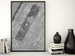 Central Park New York Map by Printable Map Of Manhattan And Central Park In Vintage Black And