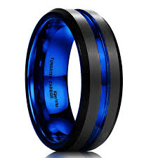 black and blue wedding rings mens black wedding bands with navy blue black men s wedding