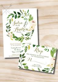 wedding invitations greenery foliage wedding invitation greenery leafy garden invitations