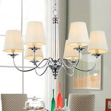 modern style chandeliers with 6 light fabric shade simple charming