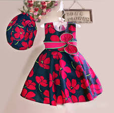 designer baby clothes new summer baby floral dress with cap european style