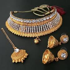 plated choker necklace images Kriaa antique gold plated choker necklace set with maang tikka jpg