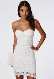 white bodycon dress adelle lace bandeau bodycon dress white missguided