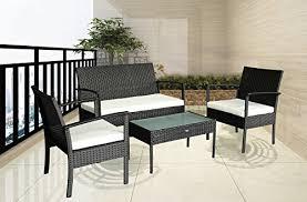 furniture patio outdoor patio outdoor balcony furniture 4pcs small sofa set white