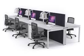 Office Workstation Desk 6 Person Office Workstation Desks Acoustic Screens White Leg