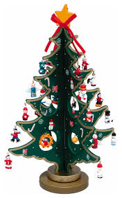 11 75 wooden tree with miniature wooden ornaments 25 set
