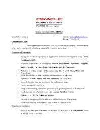 Sample Resume For Sql Developer by Pl Sql Resume
