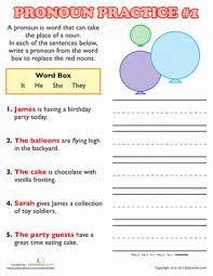 pronoun practice 2nd grade grammar worksheets education com