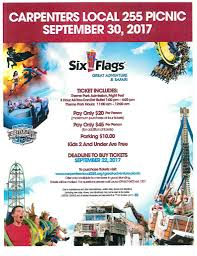Six Flags Parking Carpenters Local 255 Picnic At Six Flags