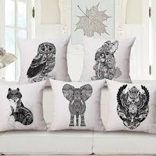 Fox Totem Animal Custom Cushions Black and white Throw Pilowcases