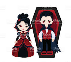 charming couple of vampires boy and in vampire costume stock