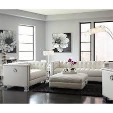 white sofa set living room coaster chaviano 2 piece tufted sofa set in white 505391 s2