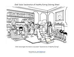 chef solus signs the declaration of healthy eating coloring page