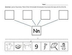 free beginning sounds cut and paste worksheets letters n z