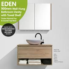Bathroom Vanity With Shelf by Eden 900mm White Oak Timber Wood Grain Wall Hung Vanity W Towel