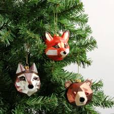 geometric animal christmas decorations box of 3