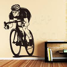 Cycling Home Decor Design Home Decoration Vinyl Racing Bike Wall Sticker