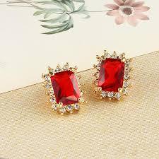 earrings brands square stud earrings gold earrings for women indian jewelry