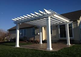 White Vinyl Pergola by How To Install A Pergola Garbrella Pergolas