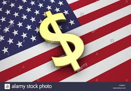 Flags Of America States United States Of America Economy Concept With Us Flag And Golden