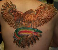 for unique custom tattoos tattoos red tailed hawk and rainbow trout u003d