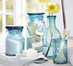 Ribbed Sea Glass Blue Accessories For Classy Bathroom Idea With