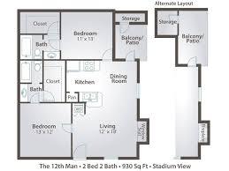 2 bedroom floorplans 2 bedroom apartment floor plans pricing stadium view