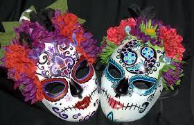 mardi gras skull mask sugar skull masks two for bellydance troupe by lilbittyfish