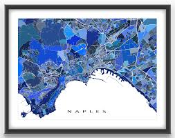 Map Of Naples Italy by Naples Map Print Featuring The Historic City Of Naples Italy