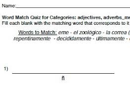 word match text free printable spanish worksheets