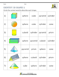 3d shapes worksheets 2nd grade