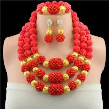 wedding bead necklace images Fashion red nigerian crystal beads necklace bracelet earrings sets jpg