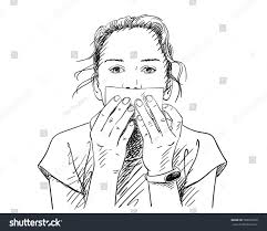 covering her mouth blank paper stock vector 568910266