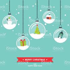 snowglobes decorations flat design christmas card stock vector art