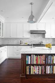 White Kitchen Island With Stools White Island With Open Shelves Brown Bar Stools White Kitchen