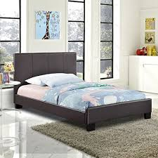 modern contemporary twin size fabric bed frame brown faux leather