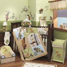 Small Upholstered Bedroom Chair Brown Wooden Crib For Baby Boys With Animals Pattern Bedding Set
