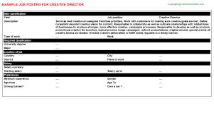 Nanny Job Description For Resume by Creative Director Job Title Docs