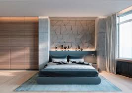 bedroom red chair white matresses smooth concrete bedroom wall