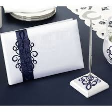 guest book and pen set blue scroll wedding guest book and pen set