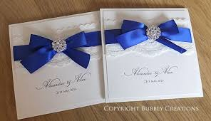 royal blue wedding invitations wedding invitations in royal blue lace and diamante with