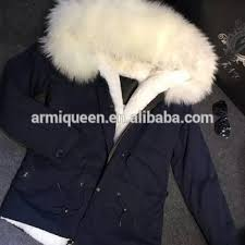 100 real foto navy parka white fur coat fashion inner wear for
