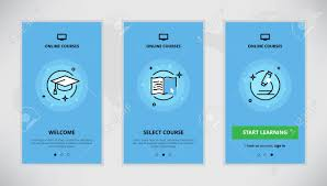 design online education modern vector flat line mobile app design set of online education