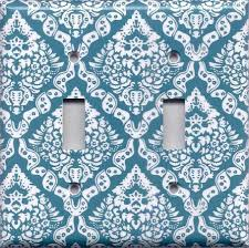 teal turquoise blue u0026 white intricate damask floral switch plates