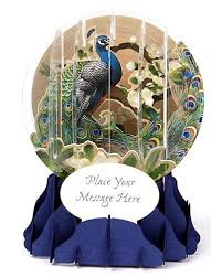 3d snow globe peacock all occasion card